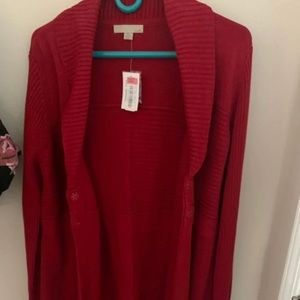 One A Gorgeous Red Cardigan Sweater Size XL